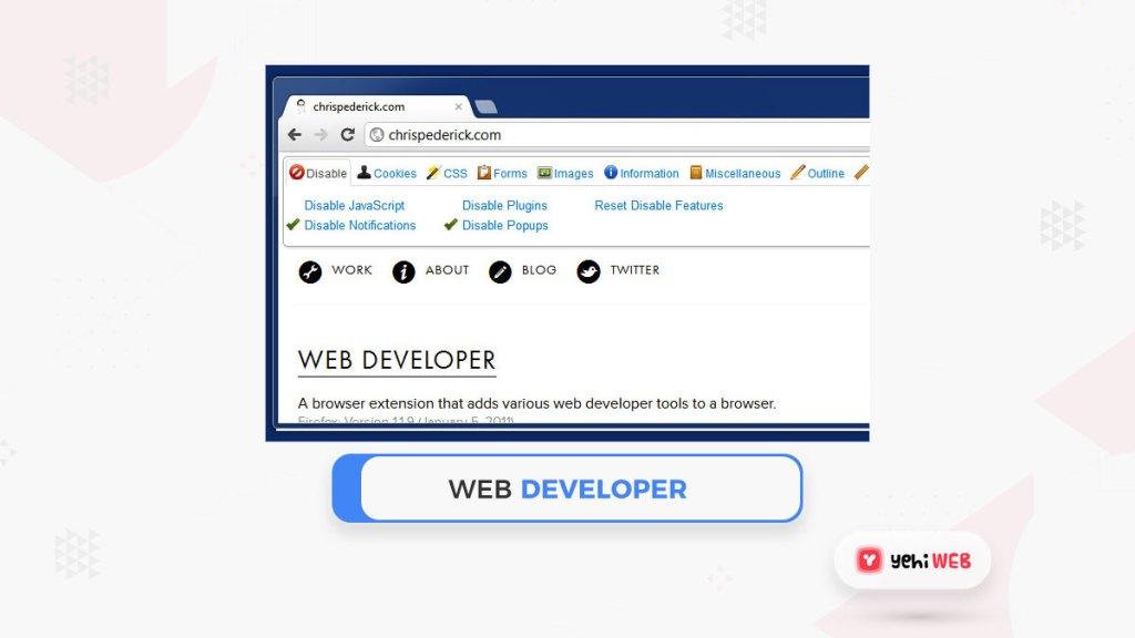 web developer google chrome extension yehiweb