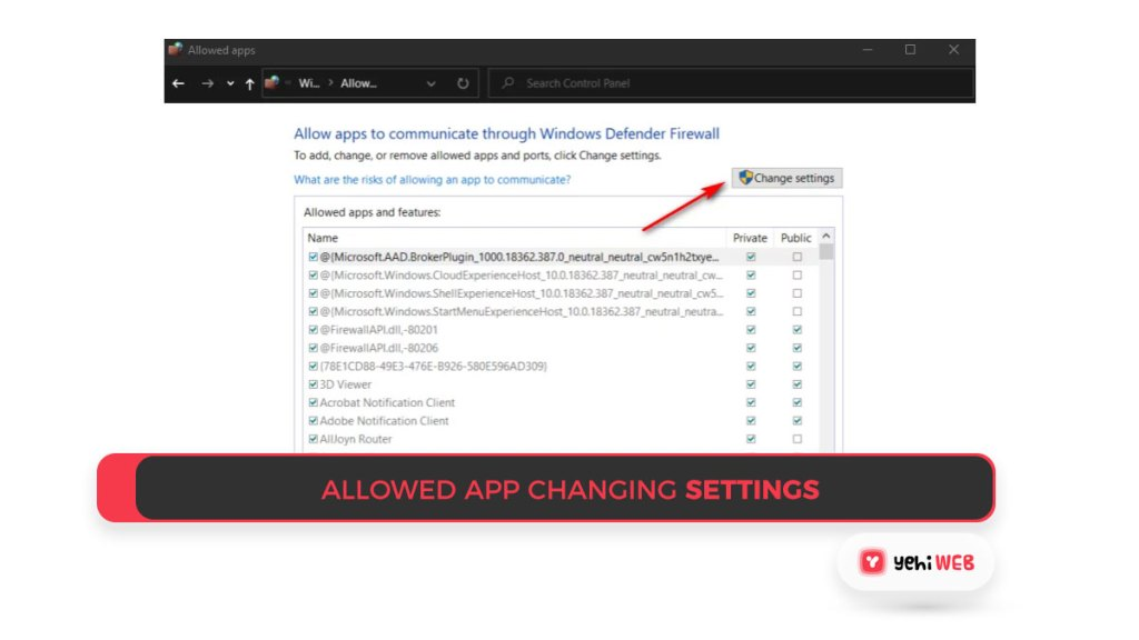 Allowed app Changing Settings Yehiweb