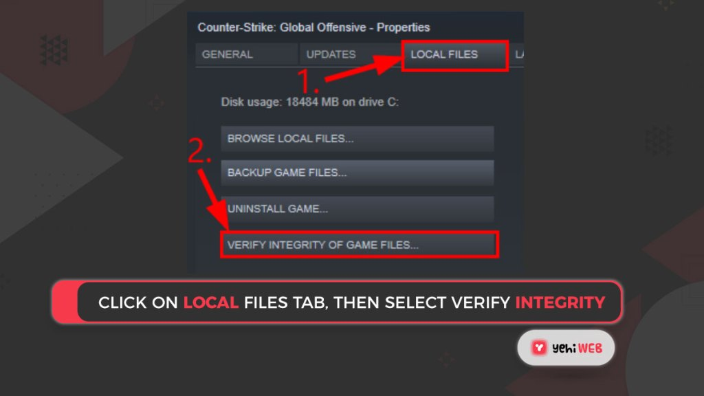 Click on Local Files tab, then select VERIFY INTEGRITY Yehiweb
