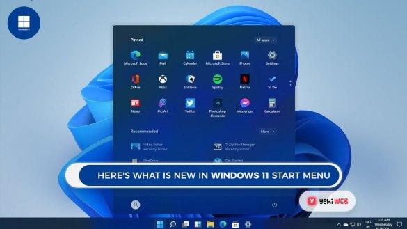 Here's what is new in windows 11 Start menu Yehiweb