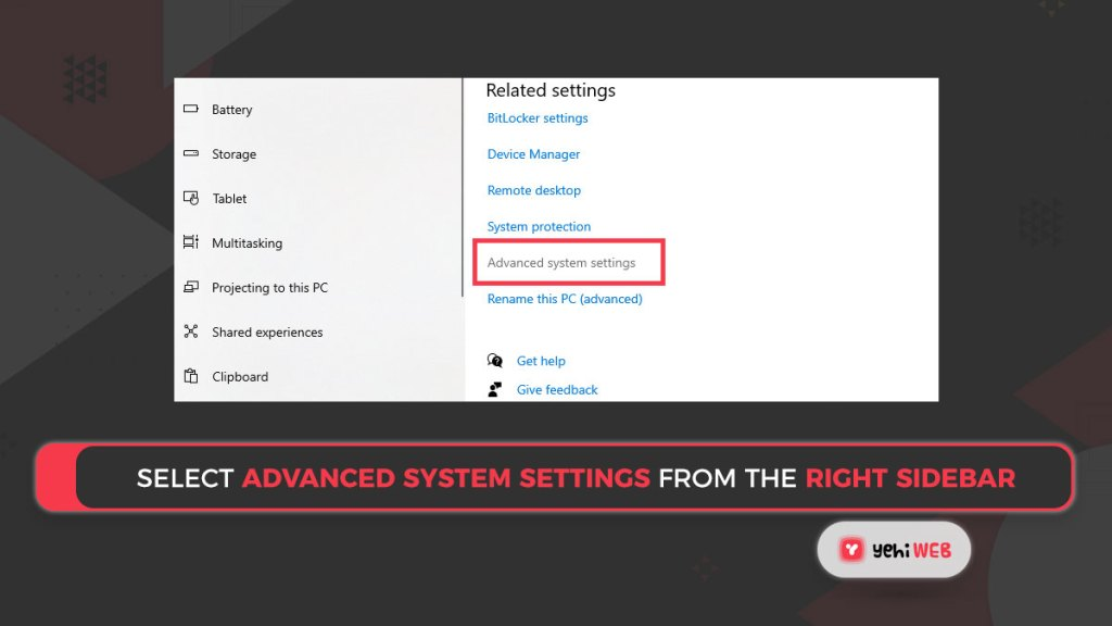 Select Advanced system settings from the right sidebar Yehiweb