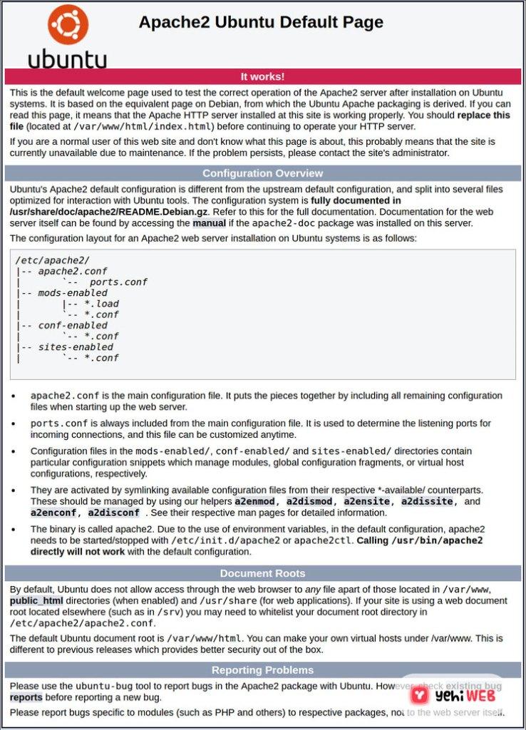 apache ubuntu web page yehiweb
