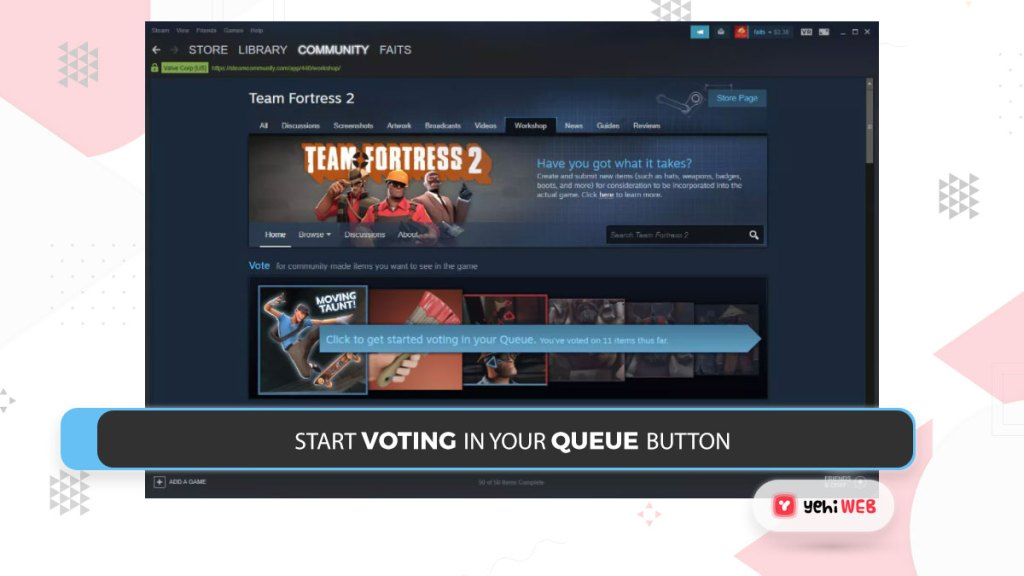 start voting in your Queue button Yehiweb