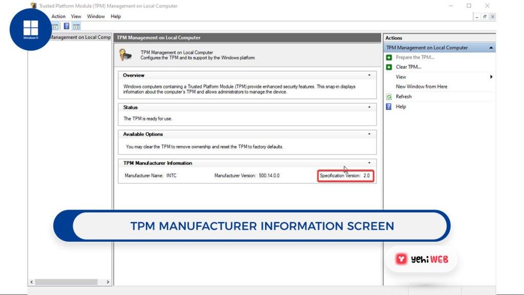 TPM Manufacturer Information screen yehiweb