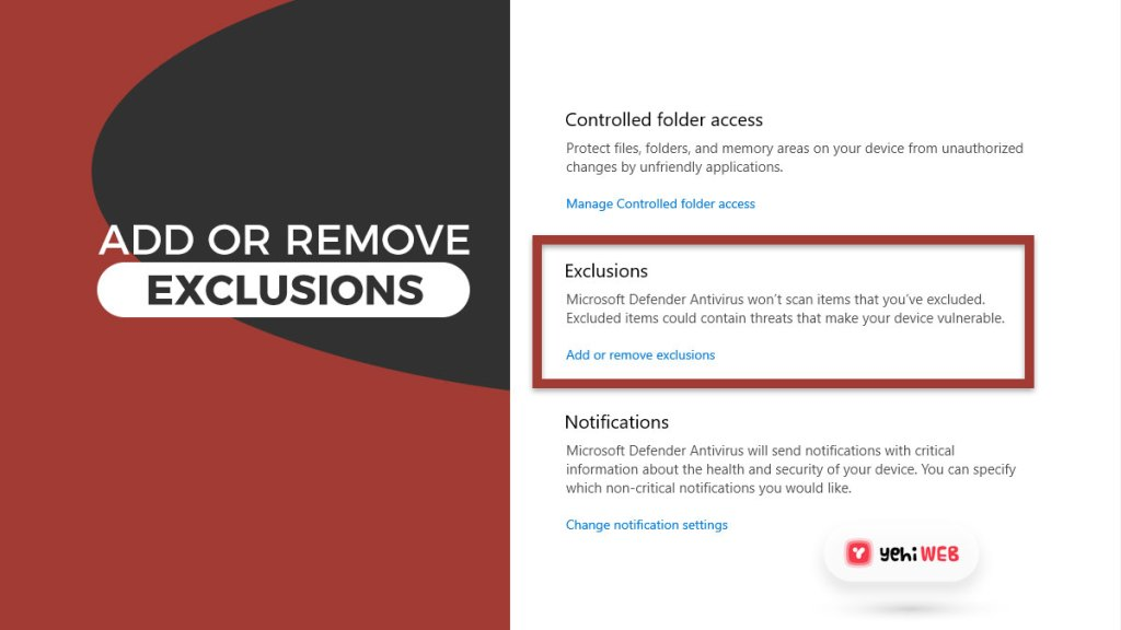 add or remove exclusions yehiweb