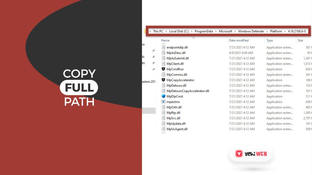 copy full path yehiweb