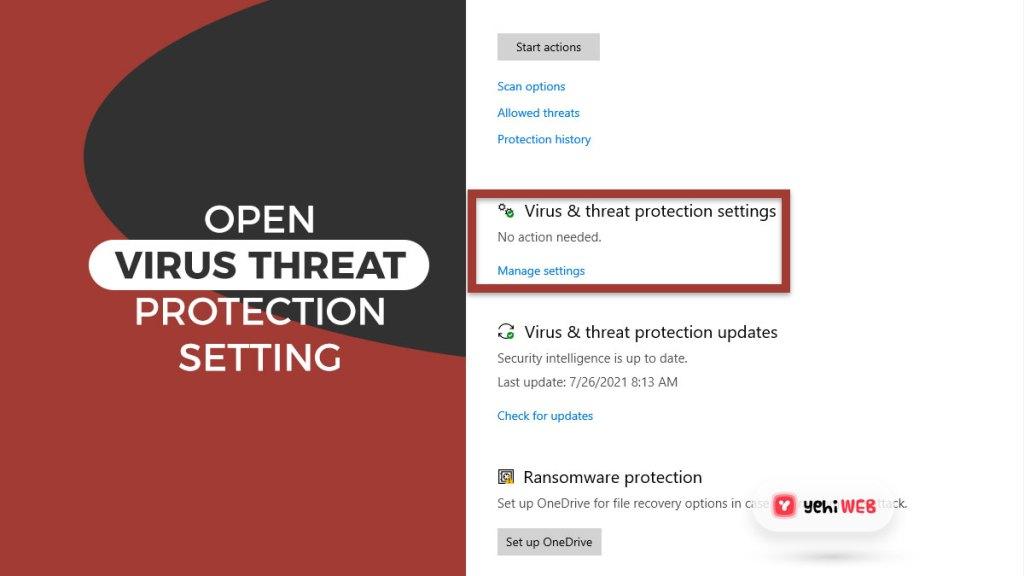 open virus threat protection setting yehiweb