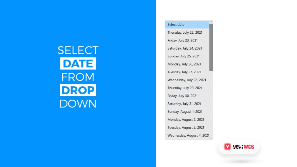 select date from drop down yehiweb