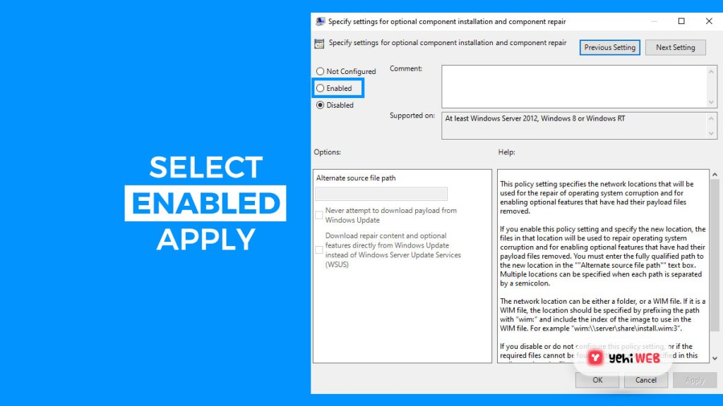 select enabled and apply yehiweb