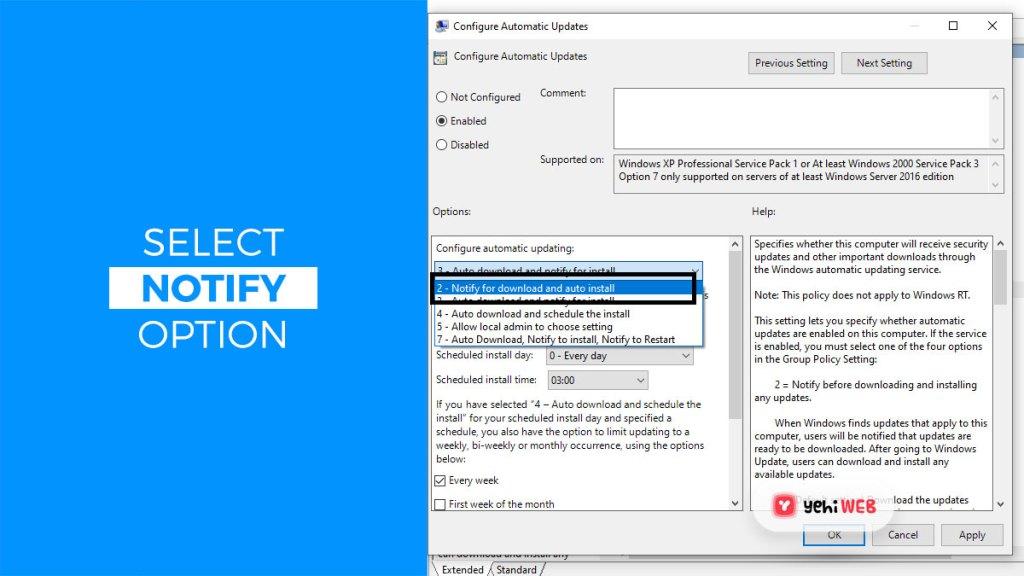 select notify option yehiweb