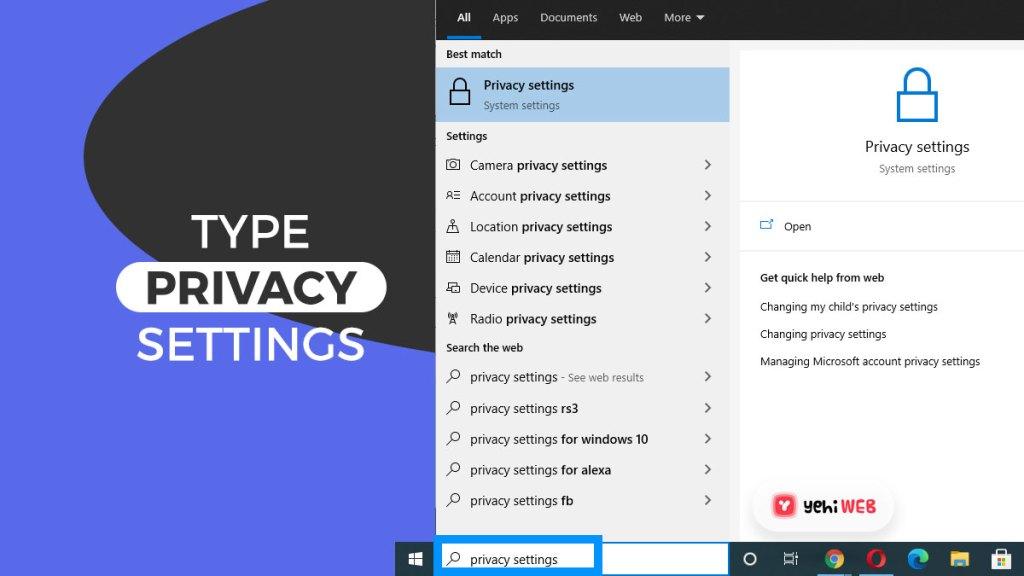 type privacy settings yehiweb