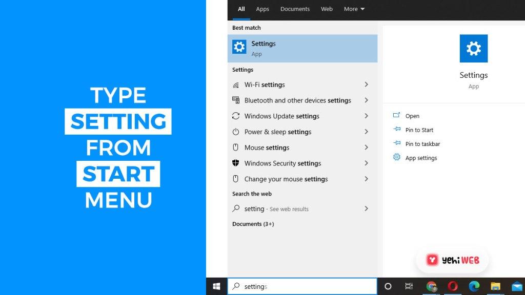 type setting from start menu yehiweb