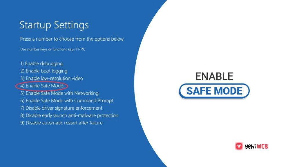 enable safe mode yehiweb