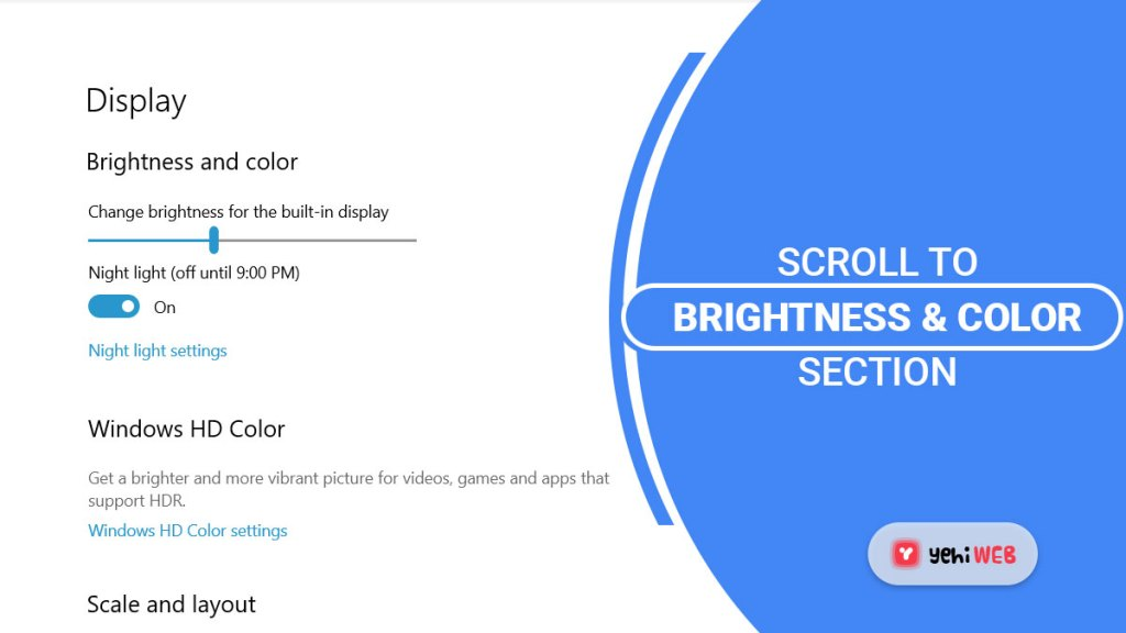 scroll to brightness n color section yehiweb