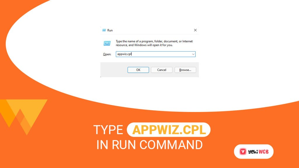 type appwiz cpl in run command yehiweb