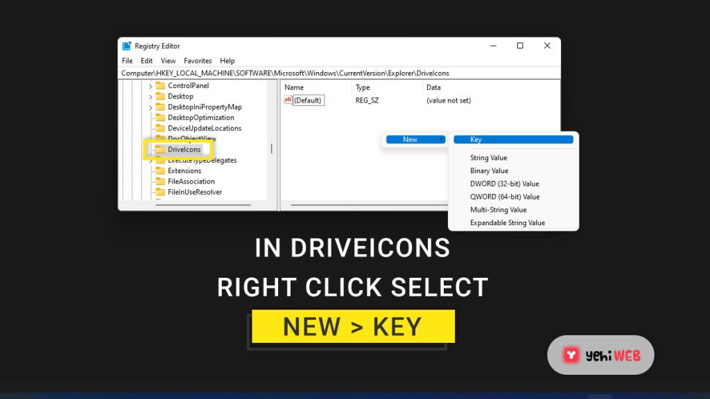 in driveicons right click select new key yehiweb