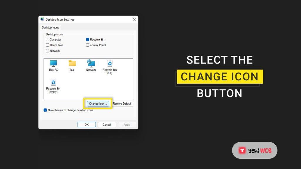 select change icon button yehiweb