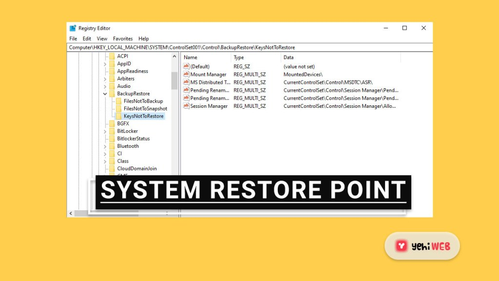 system restore point yehiweb
