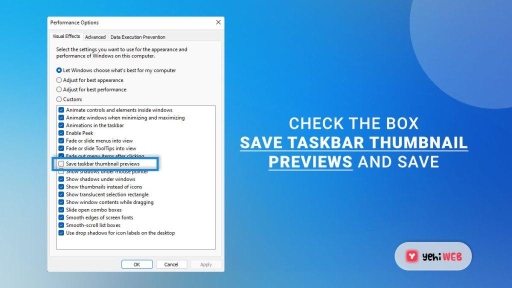check the box save taskbar thumbnail previews yehiweb