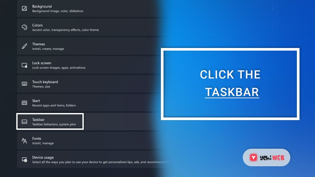 click the taskbar yehiweb