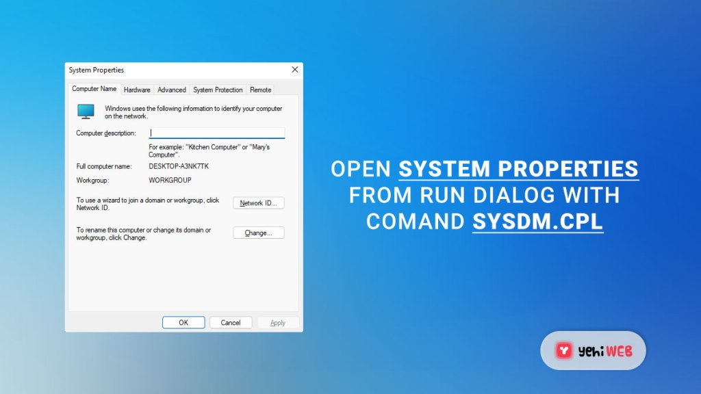 open system properties from run command yehiweb