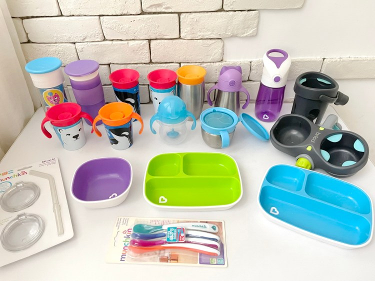 [親子] 美國Munchkin滿趣健360度防漏水杯、吸管杯、餐盤碗、餐具、攜帶餐椅