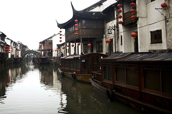 Riverside district in Suzhou, China