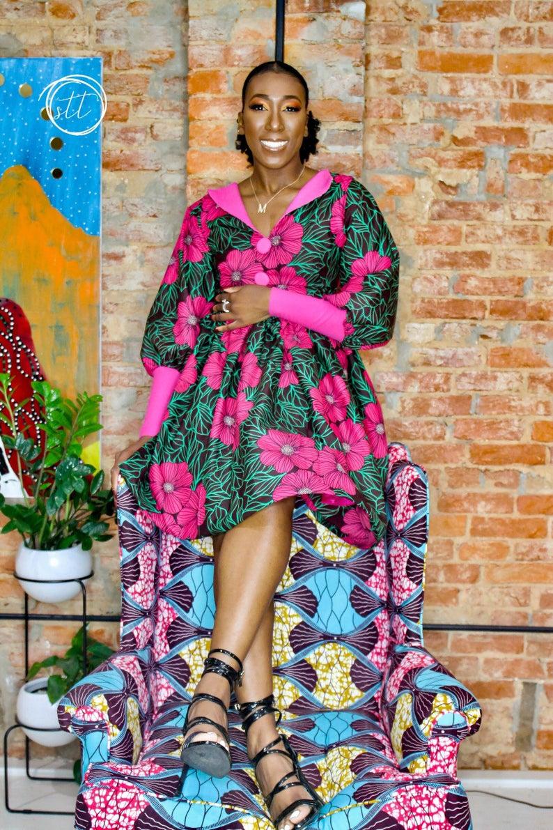 African clothing for women, Ankara dress, Gathered dress ...