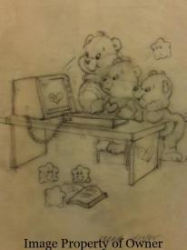 The Care Bears looking up love on an Apple Lisa