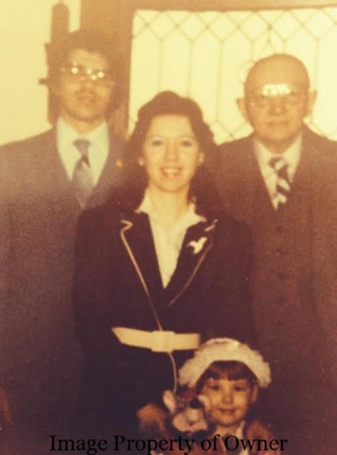 Before Easter Service portrait - Uncle K, mum, Grampa J and me 1982