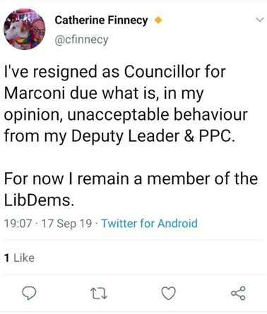 Lib Dem conference heckler resigns as a Chelmsford councillor
