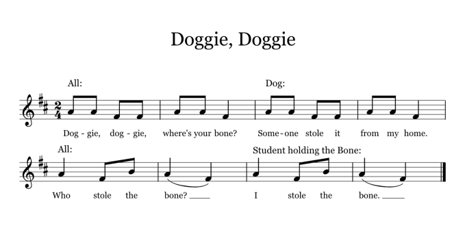 Doggie, Doggie is a fun guessing game that you can use with younger students to practice pitch (mi, so, la) or rhythm (quarter and barred eighth notes). You could also use it to sneakily asses your students' pitch-matching skills.