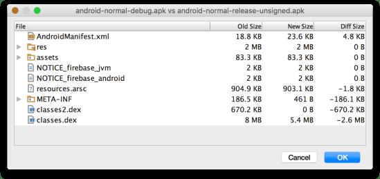 Android Studio - APK Analyzer so sánh hai APK