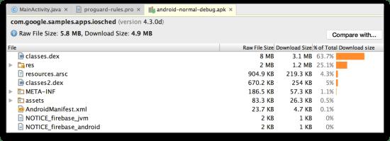 Android Studio - Màn hình APK Analyzer