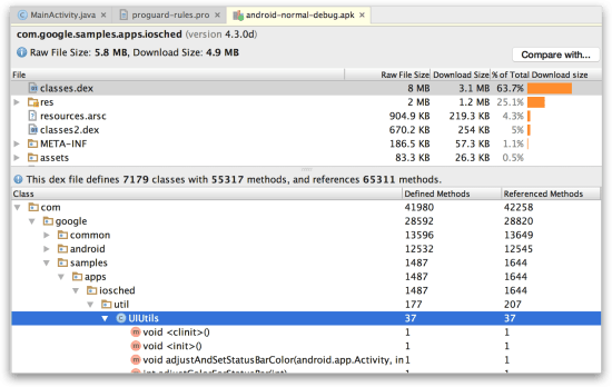 Android Studio - APK Analyzer xem file DEX