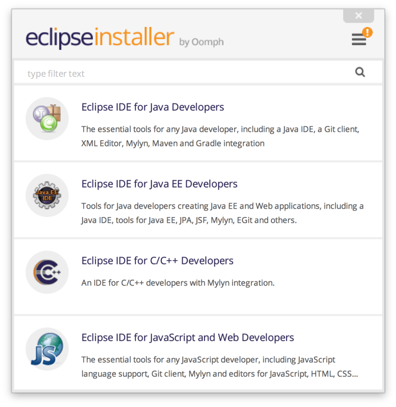Các tùy chọn gói Eclipse khác nhau trong Eclipse Installer