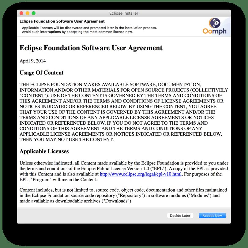 Eclipse Installer chấp nhận điều khoản