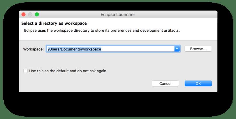 Hộp thoại hỏi đường dẫn của Workspace
