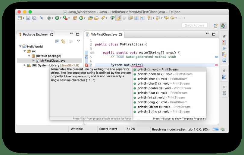 Eclipse nhắc bạn các tùy chọn để hoàn thành code