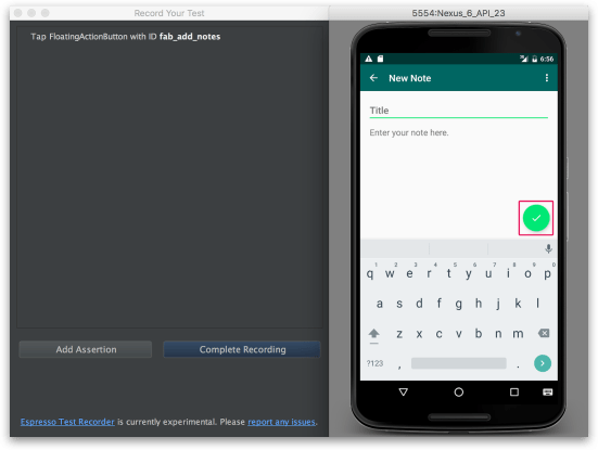 Android Studio - Espresso Test đang hoạt động
