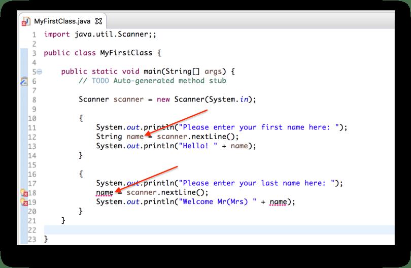 Ví dụ biến name là biến local bên trong một khối lệnh