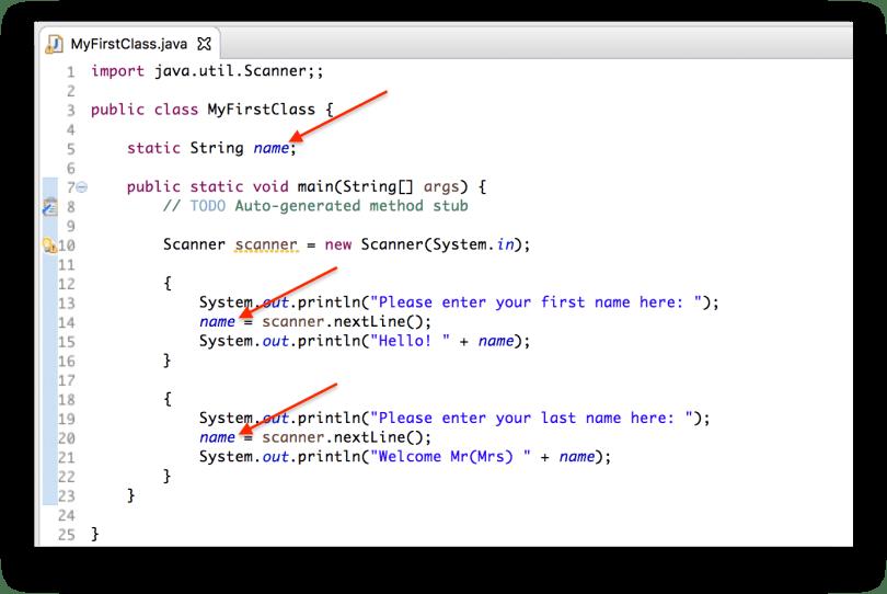 Ví dụ biến name là biến global các phương thức bên trong class