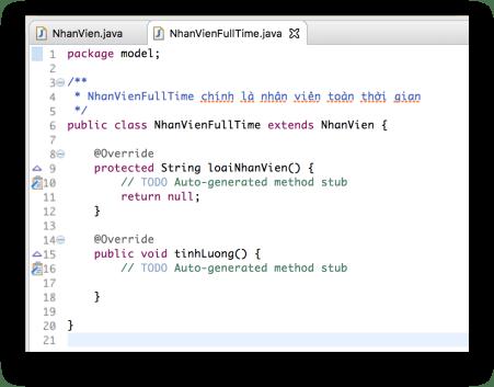 Tính trừu tượng - Code tự động implement các phương thức trừu tượng