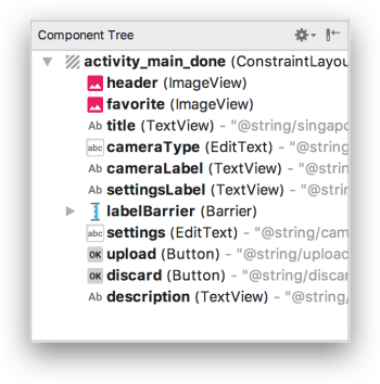 ConstraintLayout - Component Tree