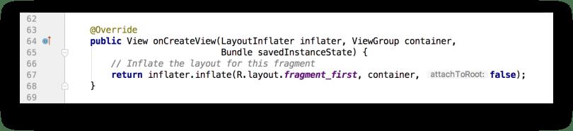 Phương thức onCreateView() của một Fragment