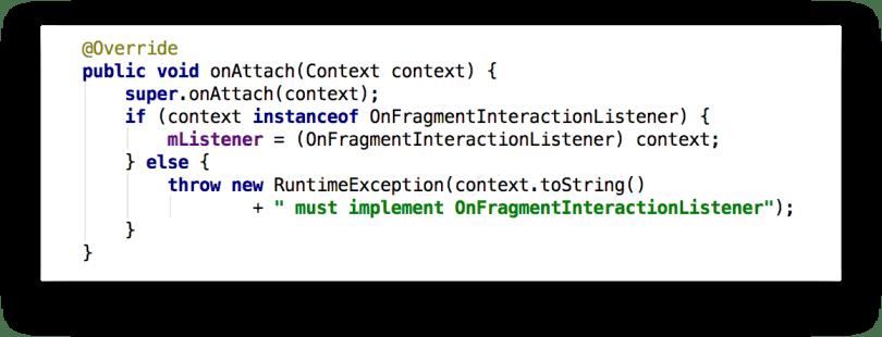 Ví dụ callback onAttach() của Fragment