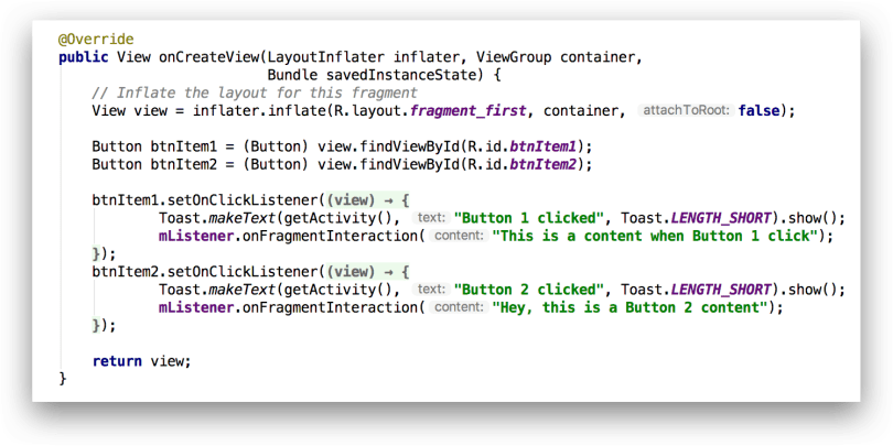 Ví dụ callback onCreateView() của Fragment
