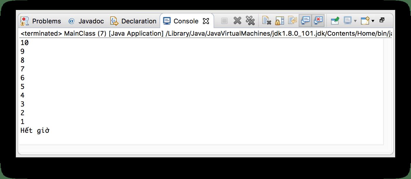 Kết quả in ra chương trình của Thread đếm ngược