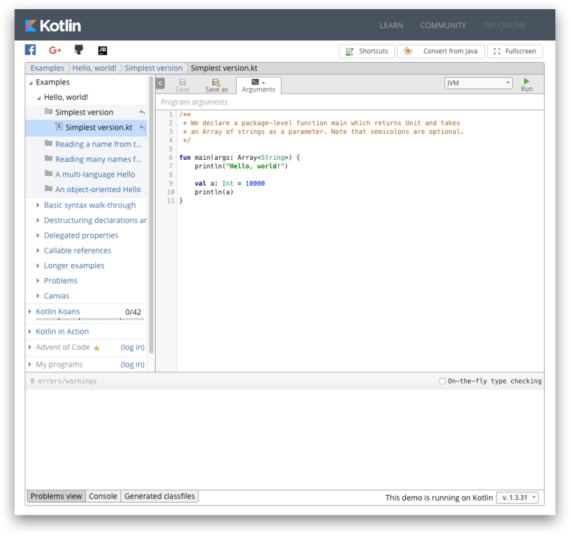 Công cụ luyện tập Kotlin online