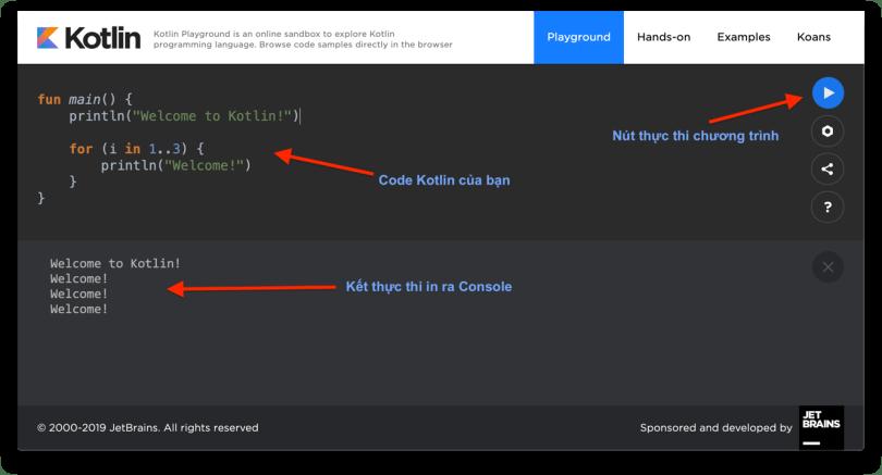 Các dòng code đầu tiên, và kết quả thực thi
